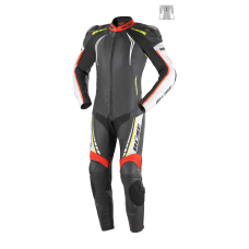 BÜSE Silverstone Pro leather suit 1pcs. neon red-neon yellow