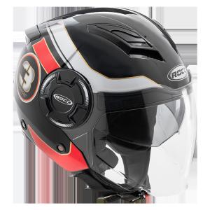 Мотошлем ROCC 281 Jet helmet black/red